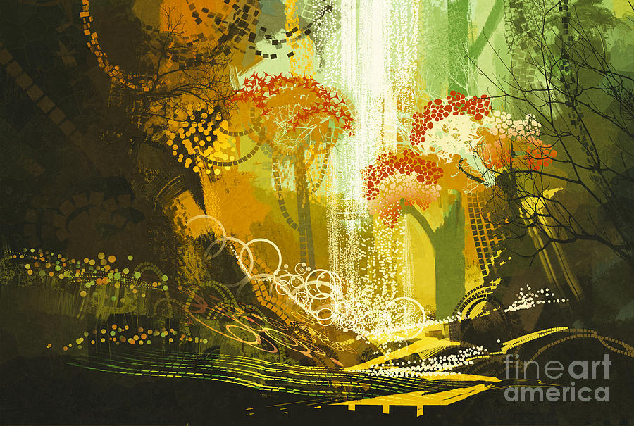 Forest Digital Art - Abstract Autumn Forest by Tithi Luadthong