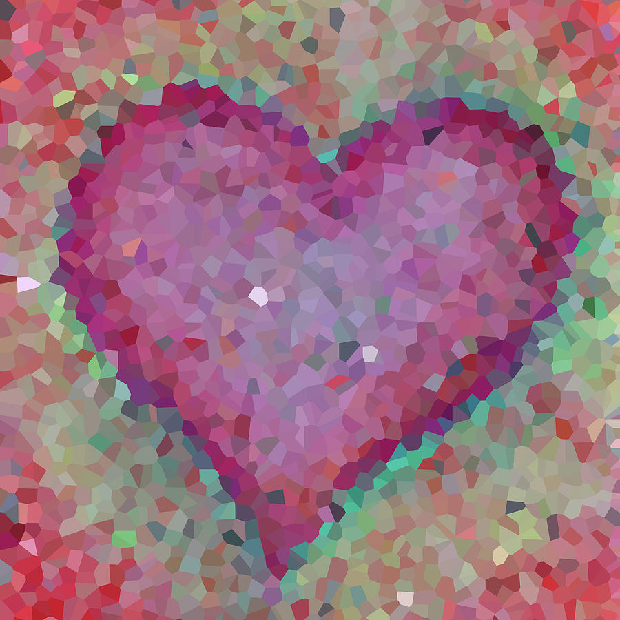 Heart Digital Art - Abstract. Big pink heart by Elena Sysoeva