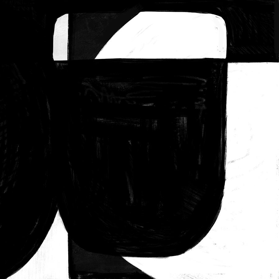Black And White Painting - Abstract Black And White No.65 by Naxart Studio