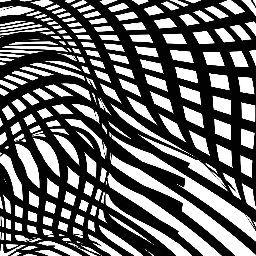Abstract Black And White Stripe Shape Digital Art by Shuoshu