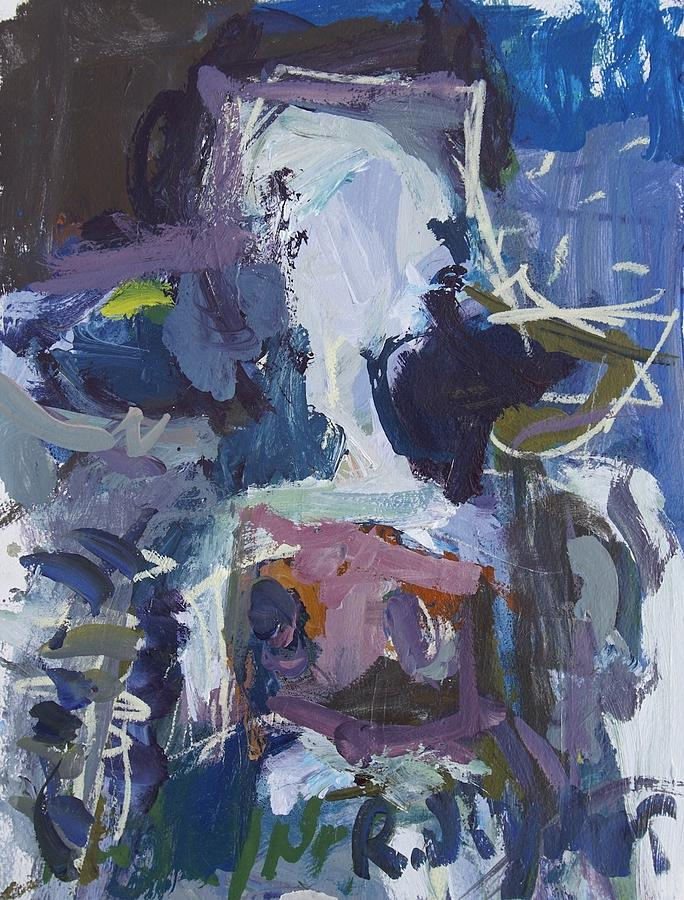 Cow Painting - Abstract Blue Cow by Robert Joyner