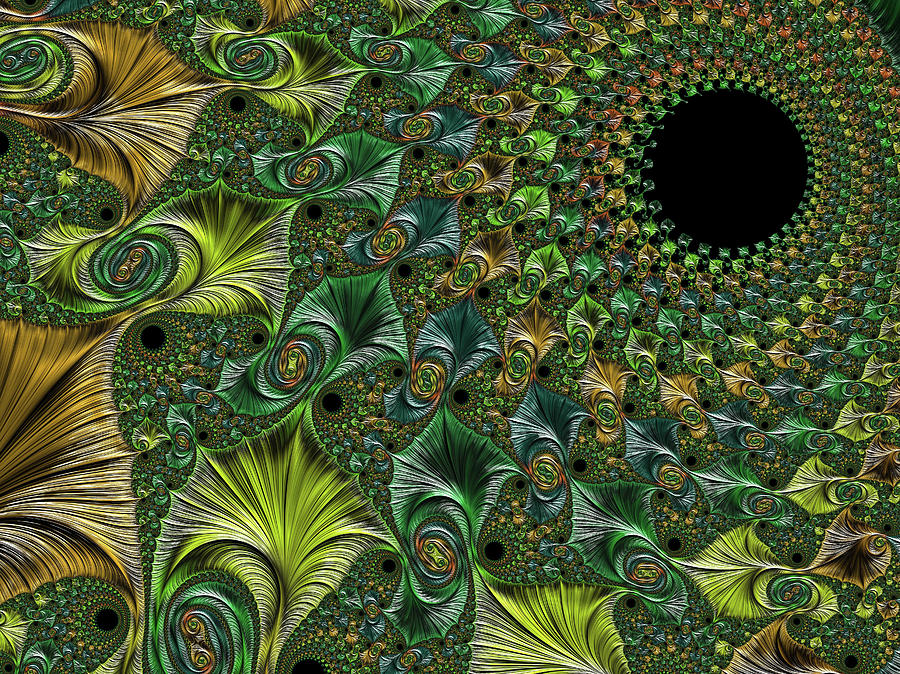 Abstract Bright Textured Spiral Fractal In Green Natural Colors. Digital Art