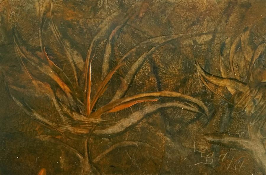 Abstract brown/orange floral in Encaustic by Lorraine Bradford
