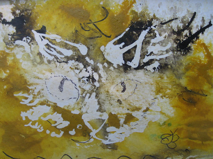abstract cat face yellows and browns by AJ Brown