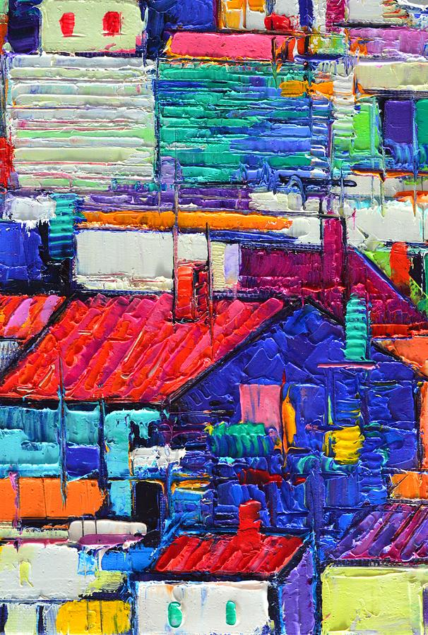 ABSTRACT CITY PATTERNS tep a5 textural impasto palette knife oil cityscape by Ana Maria Edulescu by ANA MARIA EDULESCU