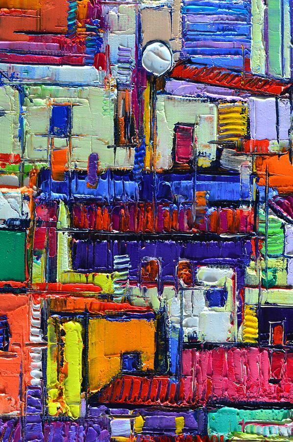 ABSTRACT CITY PATTERNS tep b9 textural impasto palette knife oil cityscape by Ana Maria Edulescu by ANA MARIA EDULESCU
