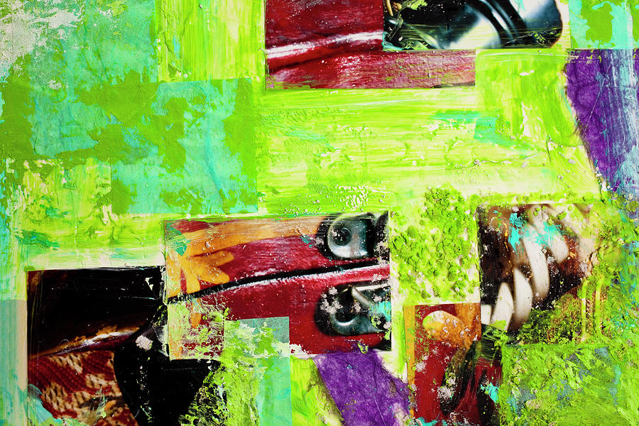 Abstract Collage Of Bright Paint And Digital Art by Fstop123
