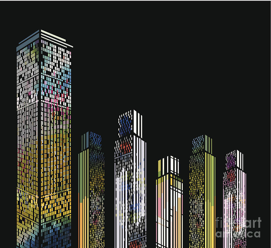 Abstract Colorful Modern Building Digital Art by Shuoshu