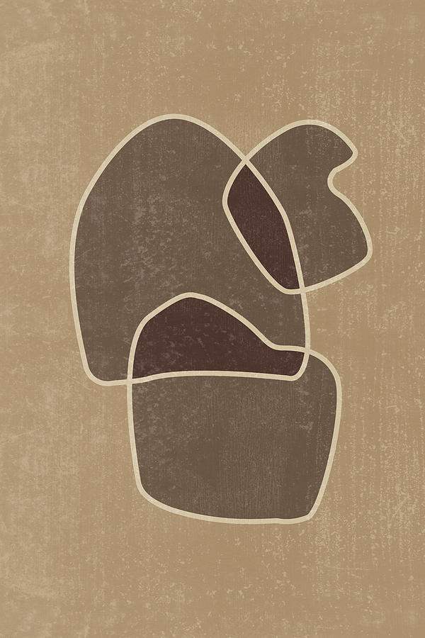 Abstract Composition In Brown And Tan - Modern, Minimal, Contemporary Print - Earthy Abstract 1 Mixed Media