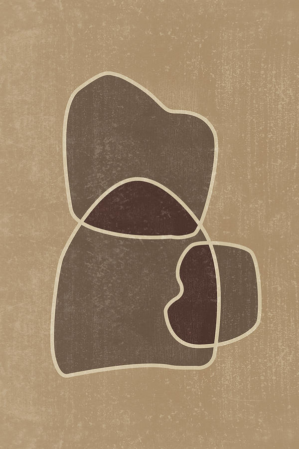 Abstract Composition In Brown And Tan - Modern, Minimal, Contemporary Print - Earthy Abstract 2 Mixed Media