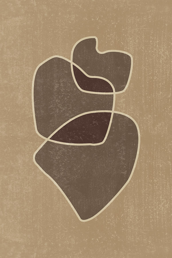 Abstract Composition In Brown And Tan - Modern, Minimal, Contemporary Print - Earthy Abstract 3 Mixed Media