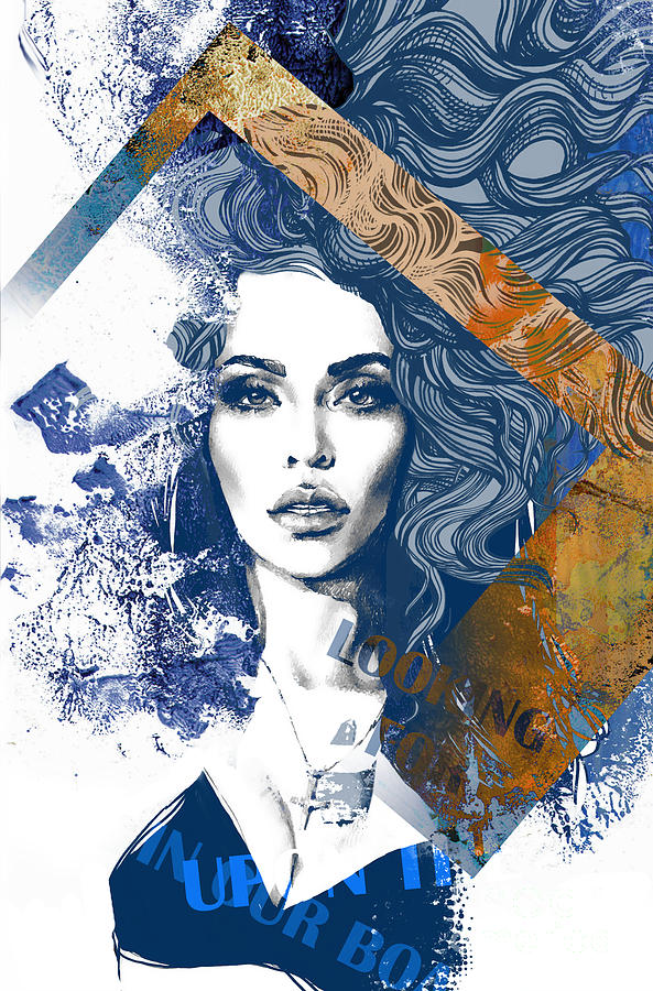 Woman Digital Art - Abstract Composition Wit A Freehand by Alisa Franz