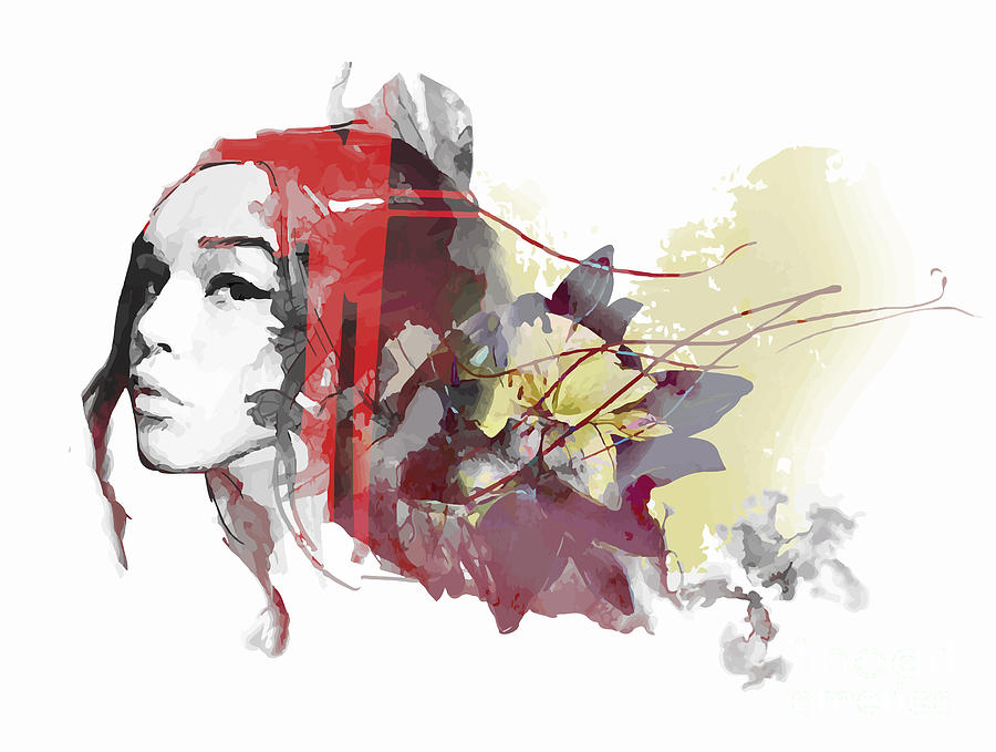 Fancy Digital Art - Abstract Composition With A Lady And by Alisa Franz