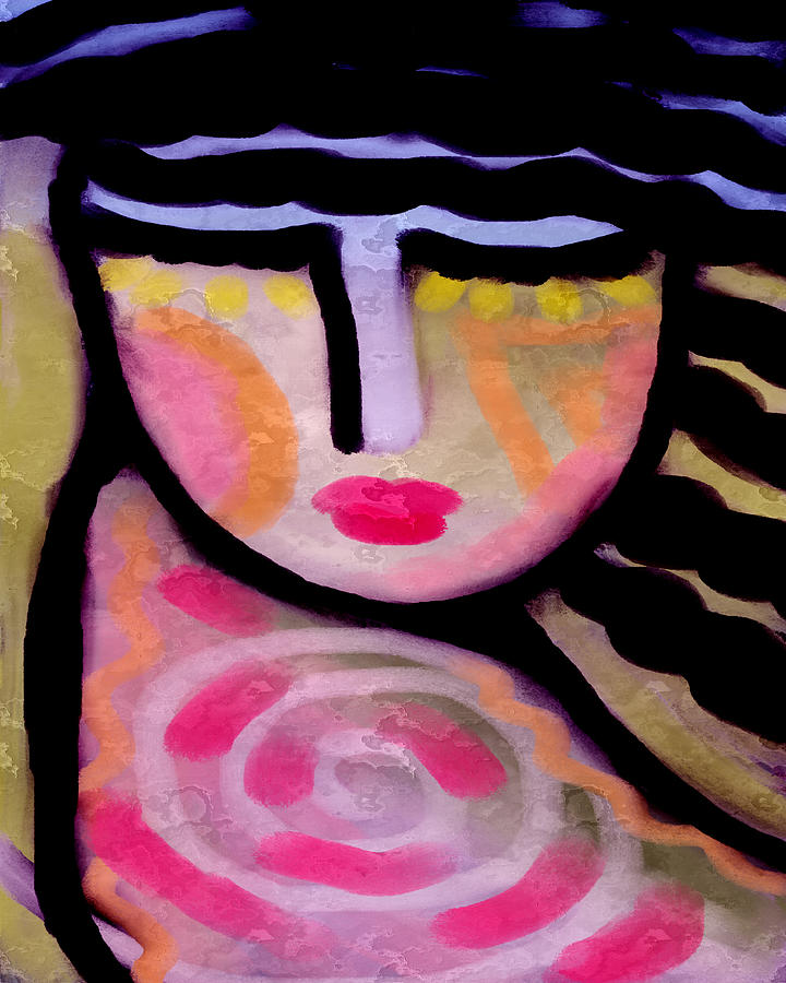 Abstract Portrait Painting - Abstract Digital Painting Of A Woman by Jackie Ludtke