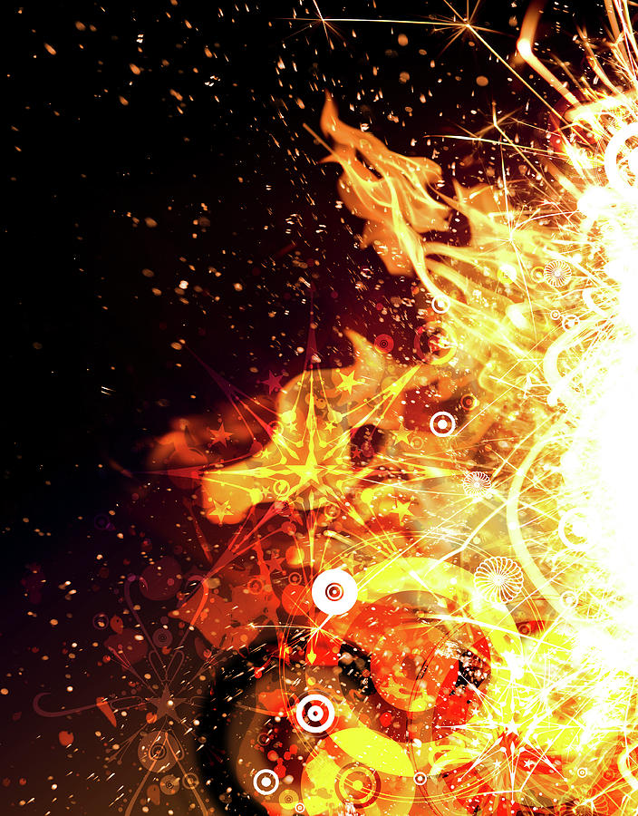 Abstract Flames And Sparks Digital Digital Art by Chad Baker