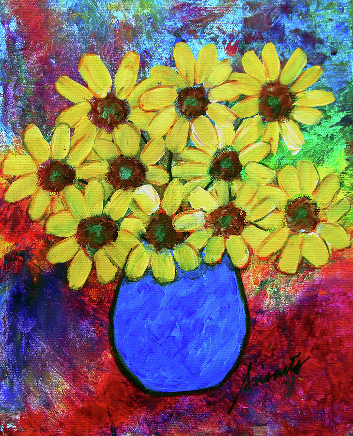 Florals Painting - Abstract Florals by Prisarts