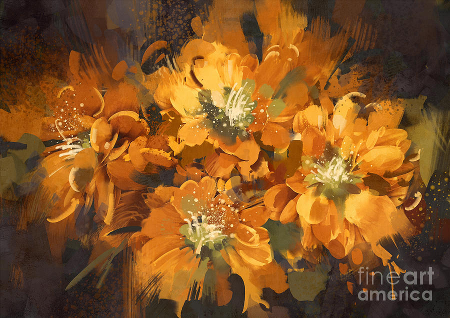Love Digital Art - Abstract Flower Digital by Tithi Luadthong
