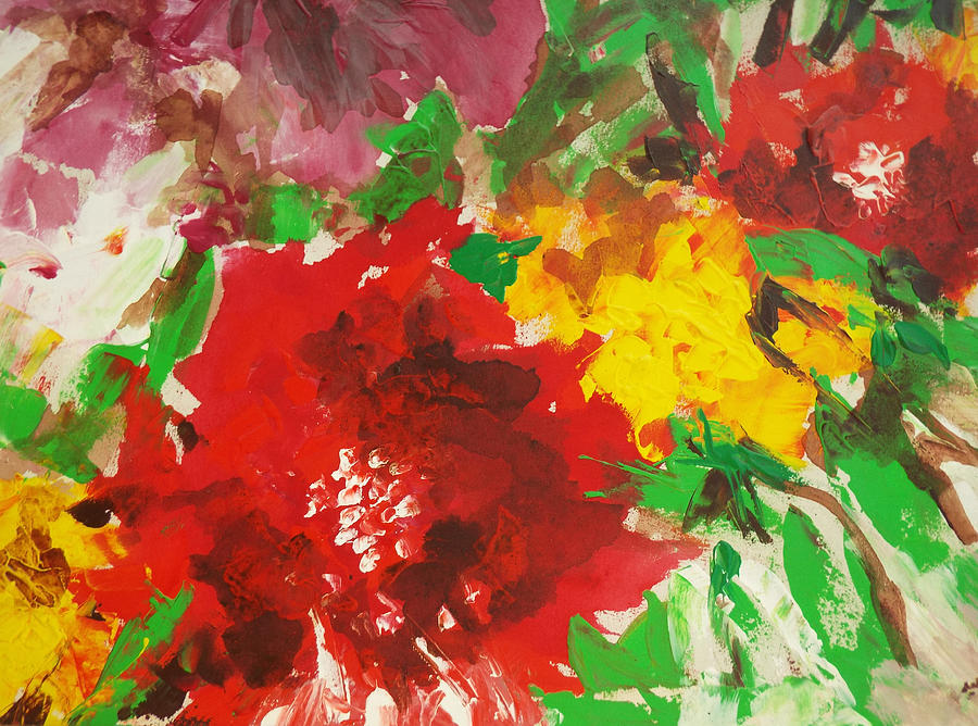 Abstract Painting - Abstract flowers by Hoda Said Ibrahim
