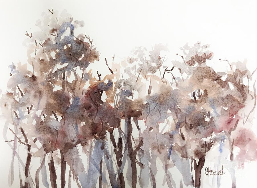 Abstract Grey Forest Pink painting by Chris Hobel