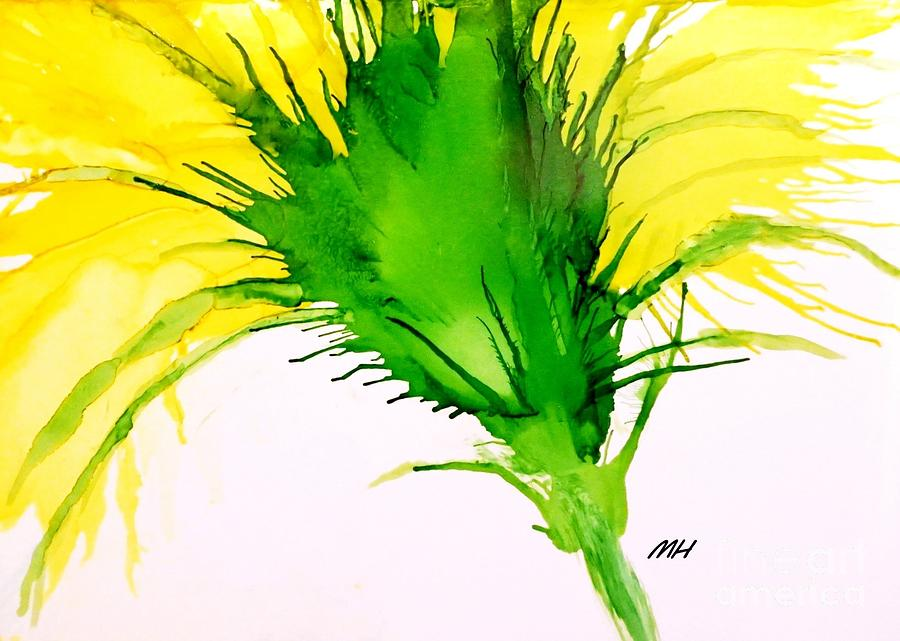 Ink Painting Painting - Abstract Ink Yellow Flower by Marsha Heiken