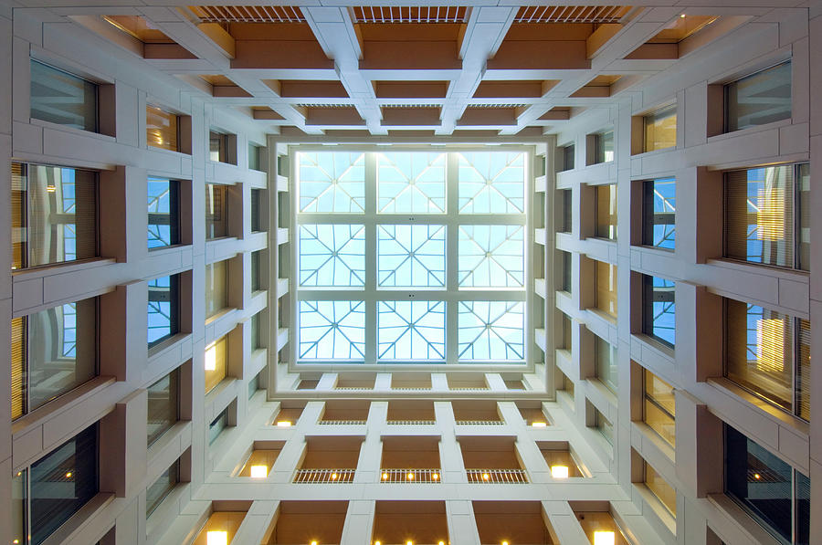 Directly Below Photograph - Abstract Interior Of An Atrium, New by C. Taylor Crothers