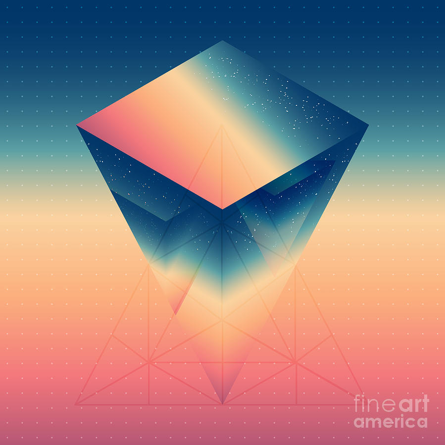Sizable Digital Art - Abstract Isometric Prism With The by Boris Znaev