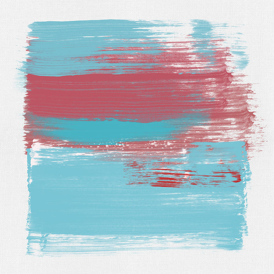 Abstract Painting - Abstract Light Blue And Cerise by Naxart Studio