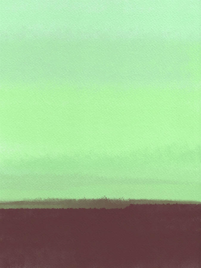 Landscape Painting - Abstract Lime Green Watercolor by Naxart Studio
