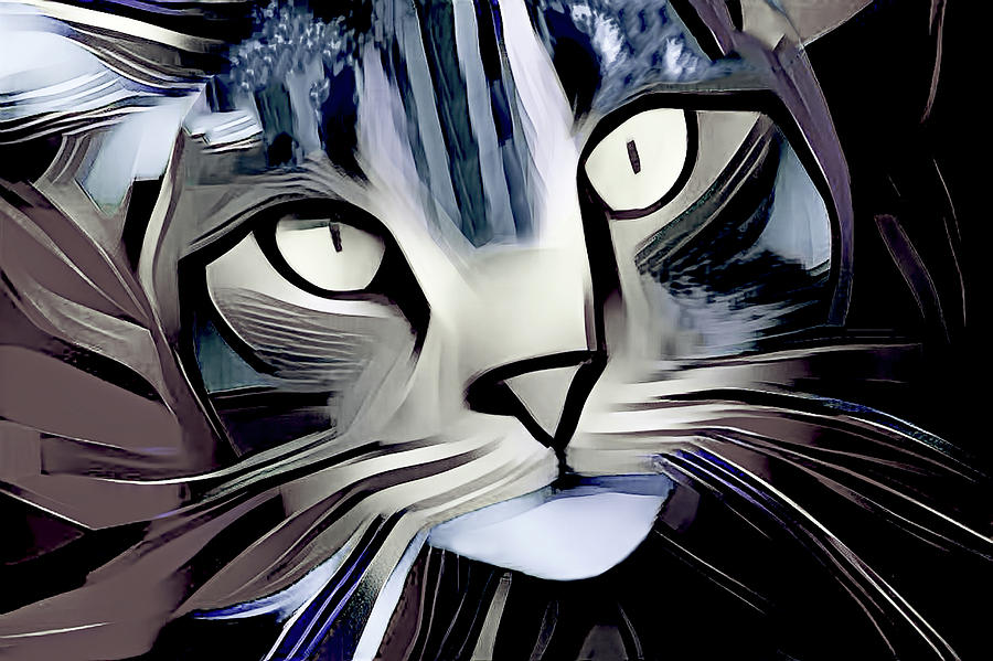 Abstract Modern Cat Art - Gray Version by Peggy Collins