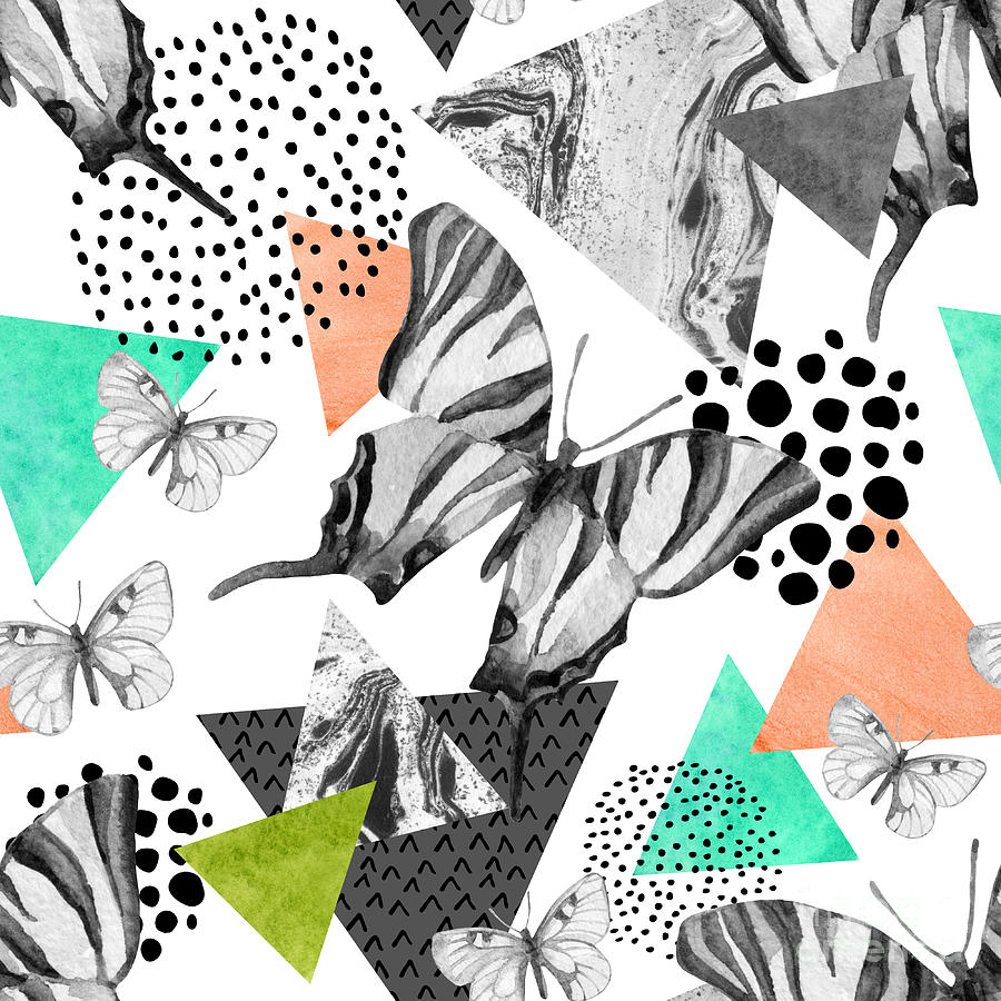 Marbling Digital Art - Abstract Natural Geometric Seamless by Tanya Syrytsyna