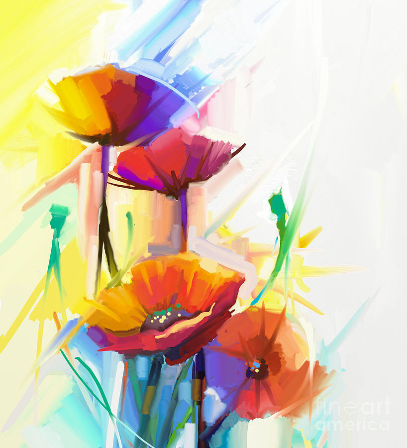 Fragrances Digital Art - Abstract Oil Painting Of Spring Flower by Pluie r
