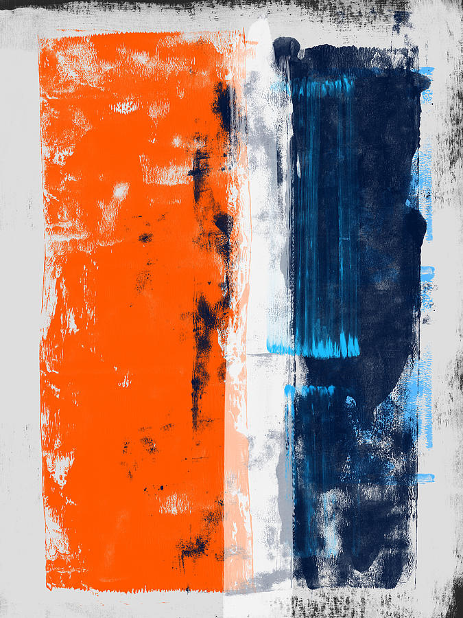 Abstract Painting - Abstract Orange And Blue Study by Naxart Studio