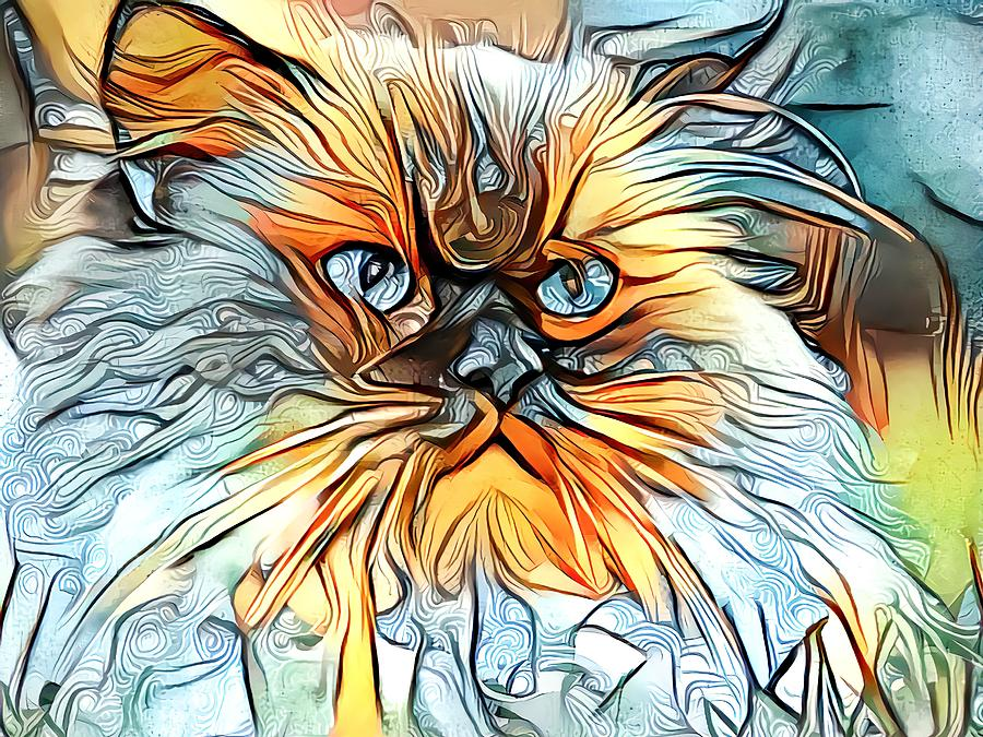 Abstract Orange Himmy Cat by Don Northup