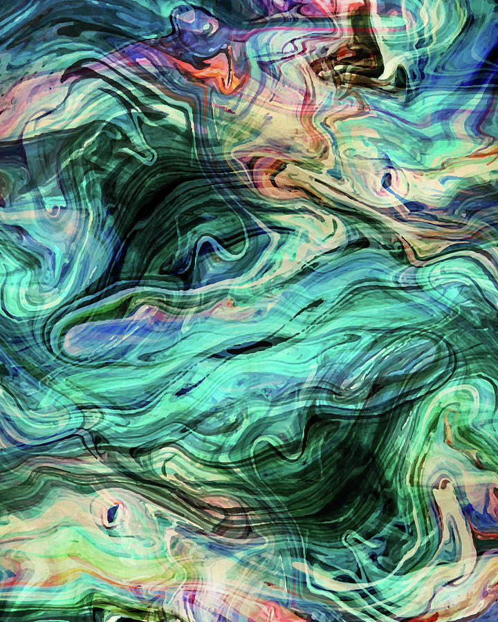 Abstract Mixed Media - Abstract Painting - Fluid Painting 03 - Blue, Green, Teal, Aqua - Modern Abstract Painting - Flow 03 by Studio Grafiikka