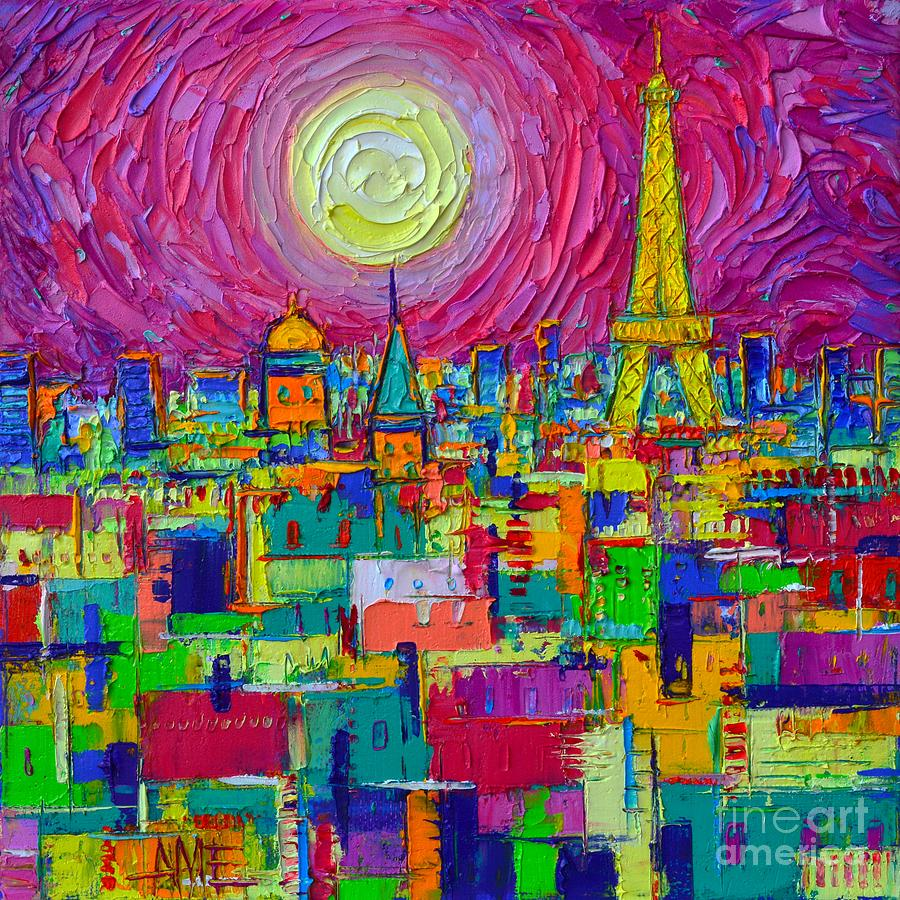 ABSTRACT PARIS VIBRANT NIGHT FULL MOON VIEW FROM NOTRE DAME TOWERS cityscape by Ana Maria Edulescu by ANA MARIA EDULESCU