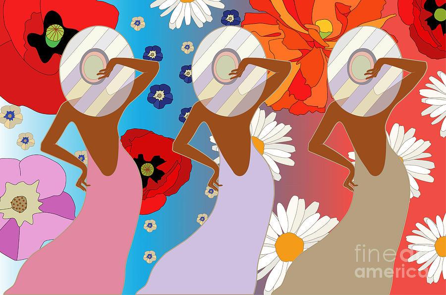 Dress Digital Art - Abstract Pattern Of Women In Dresses by Viktoriya Pa