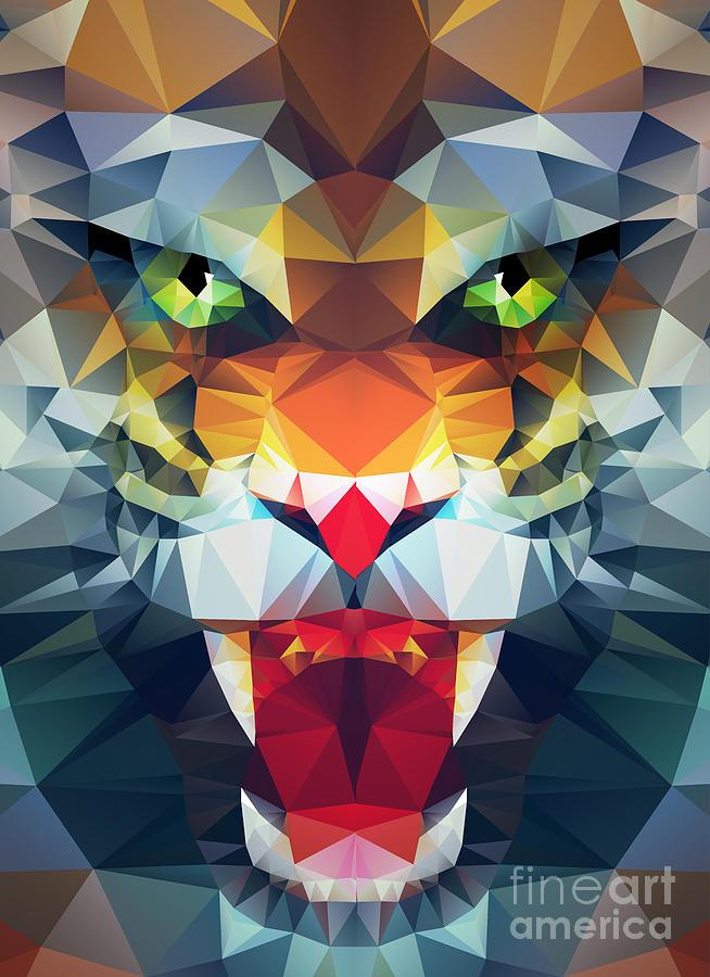 Symbol Digital Art - Abstract Polygonal Tiger Geometric by Merfin