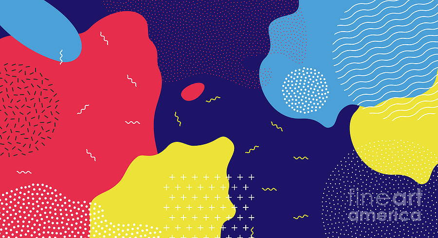 Abstract Pop Art Line And Dots Color Digital Art by Chaluk
