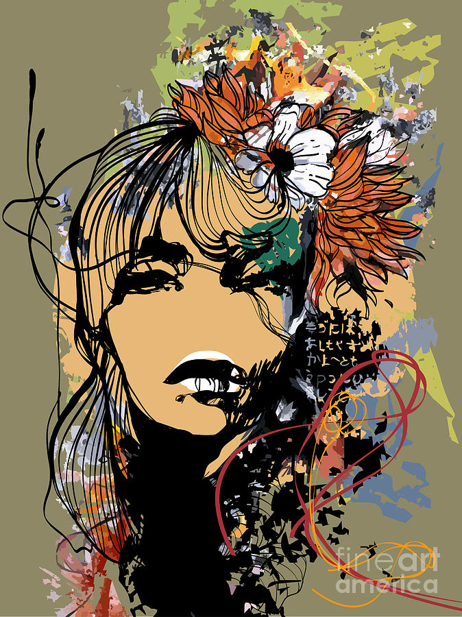 Fancy Digital Art - Abstract Print With Female Face by Alisa Franz