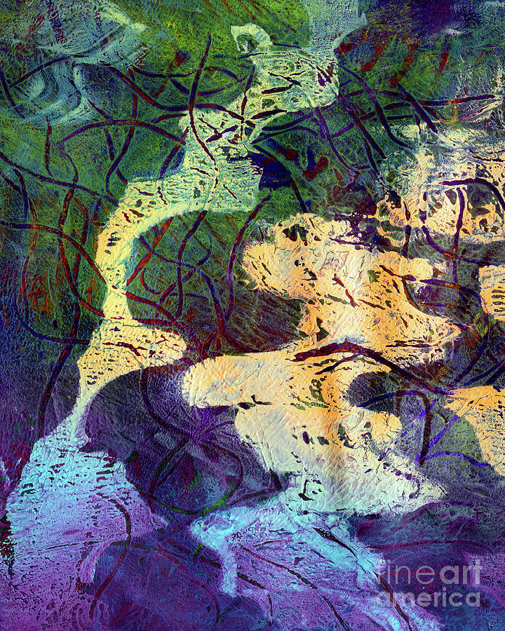 Abstract Mixed Media - Abstract Puddle Reflection by Laura L Leatherwood