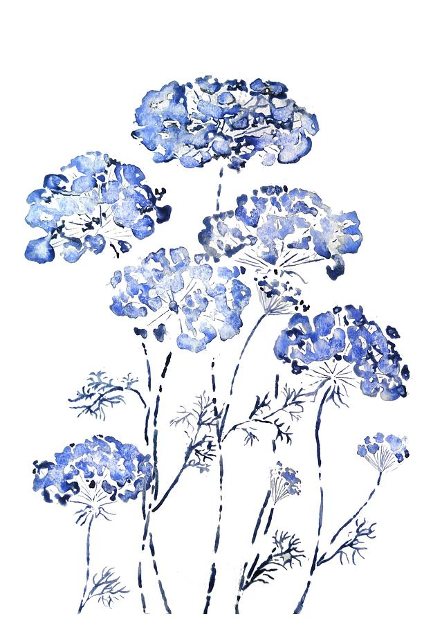abstract Queen Anne's Lace flower in blue  by Color Color