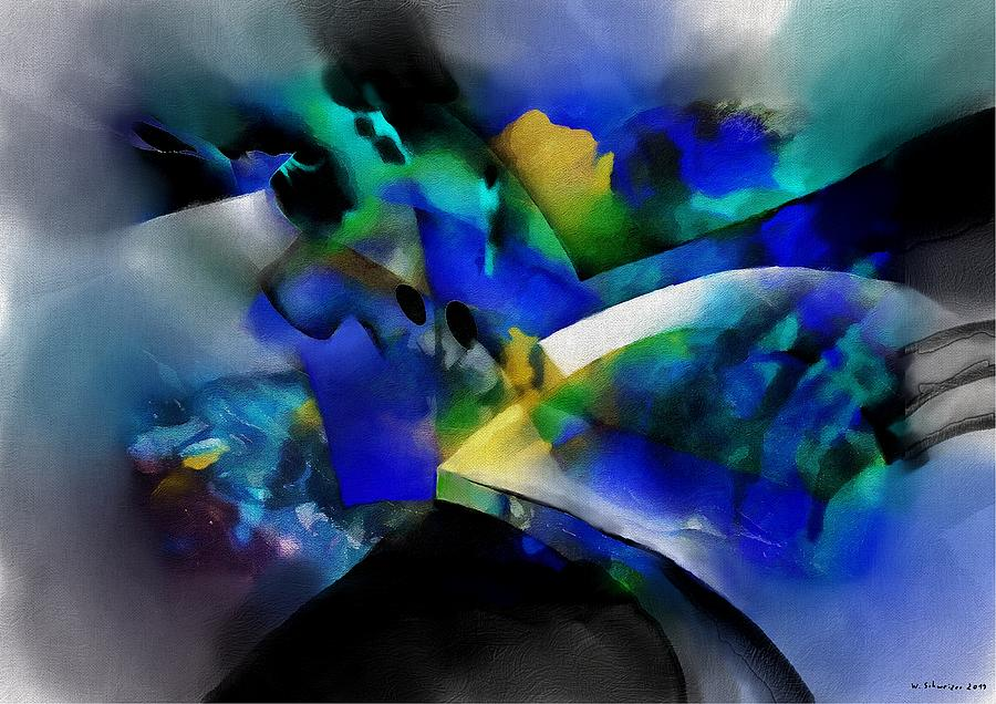 abstract scenery blue yellow by Wolfgang Schweizer