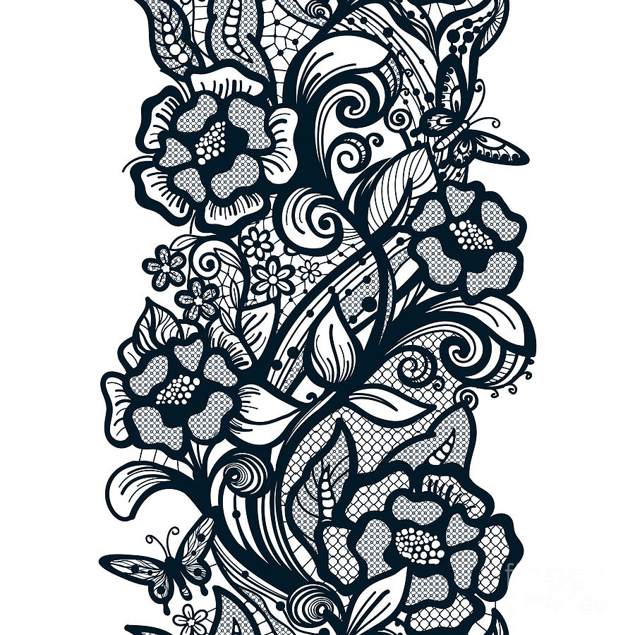 Illustrations Digital Art - Abstract Seamless Lace Pattern With by Vikpit