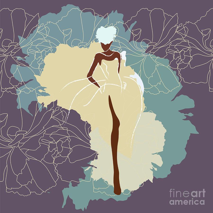 Dress Digital Art - Abstract Sketch Of A Woman In A Wedding by Viktoriya Pa