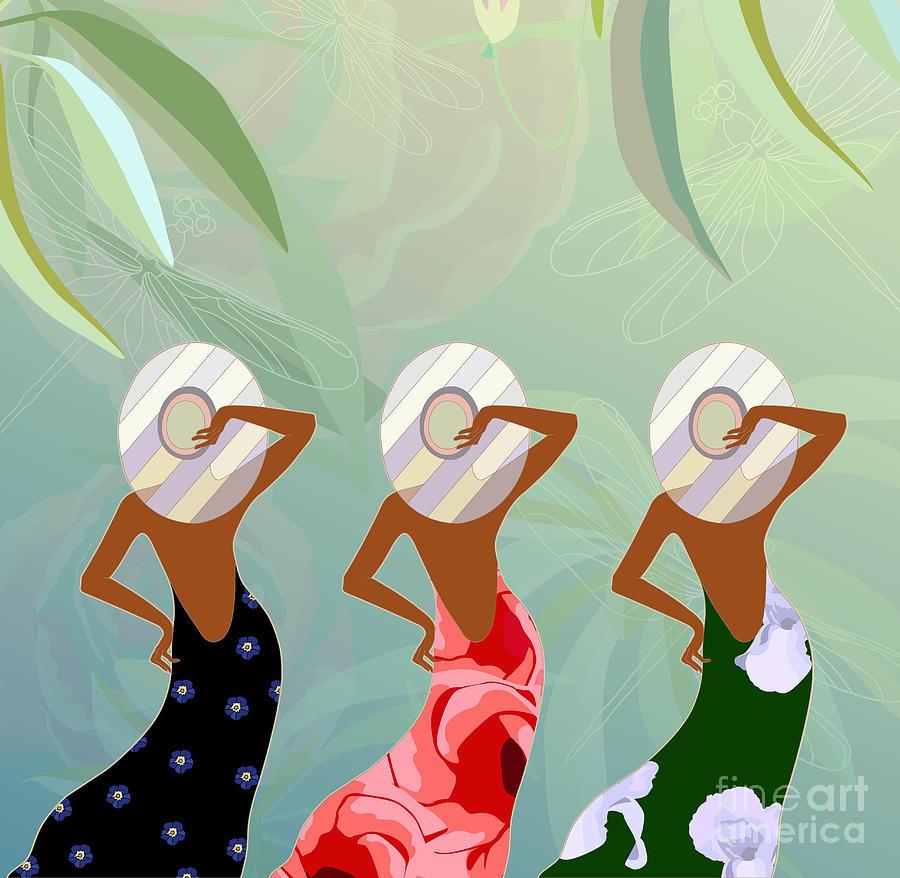 Dress Digital Art - Abstract Sketch Of Models In Dresses by Viktoriya Pa