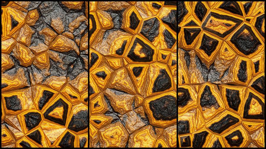 Abstract Stone Wall Triptych Digital Art