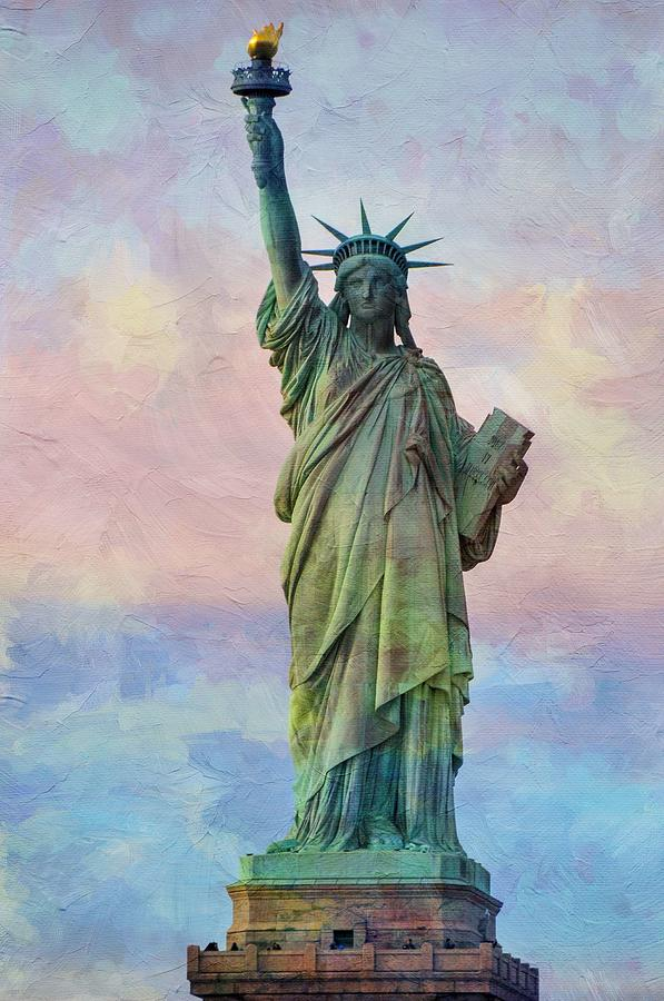 Landmark Painting - Abstract Sttue Of Liberty Painting V2 by Celestial Images