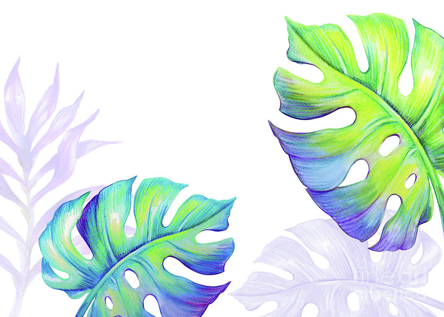 Abstract Tropical Leaves And Flowers Digital Art by Wacomka
