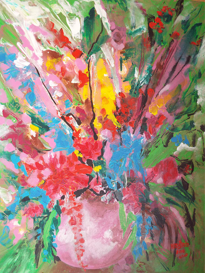 Flowers Vase Painting - Abstract vase of flowers by Hoda Said Ibrahim