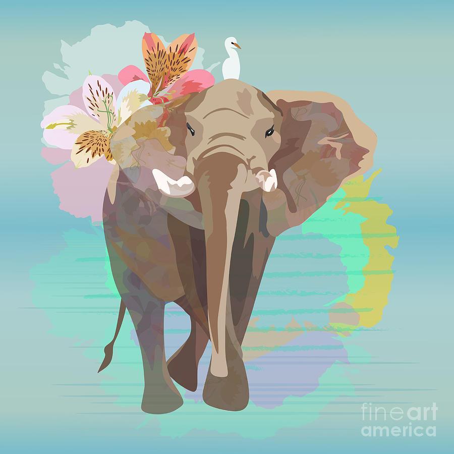 Small Digital Art - Abstract Watercolor  Illustration Of A by Viktoriya Pa